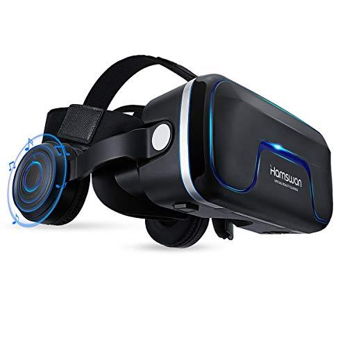 REDSTORM - Casco VR, vista panorámica en 3D, calidad de imagen HD, casco de realidad virtual con auriculares, compatible con iPhone/Android, color negro