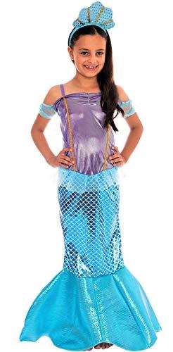 Magicoo Meerjungfrau Kostüm Kinder Mädchen mit Flosse inkl. Meerjungfraukleid & Haarreifen blau/lila - Gr 110 bis 140 - Meerjungfrauenkostüm Fasching Kind (134/140)
