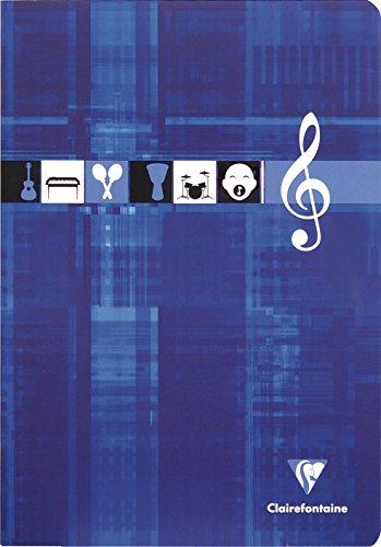 Clairefontaine 3114C - Un cahier piqué de musique 48 pages 21x29,7 cm 90g (pages musique lignées ou 10 portées), couverture carte pelliculée couleur aléatoire
