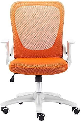 RTYUI Silla de oficina ergonómica para computadora de estudio, oficina, oficina, escritorio, malla giratoria y brazos abatibles, altura ajustable, respaldo plegable (naranja)
