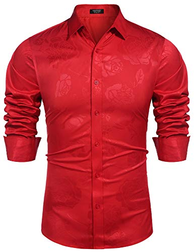 COOFANDY Herrenhemd Langarmhemd Slim Fit Seidenhemd für Freizeit Business Hochzeit Reine Farbe Hemd Langarm Herren-Hemd, Rot, M