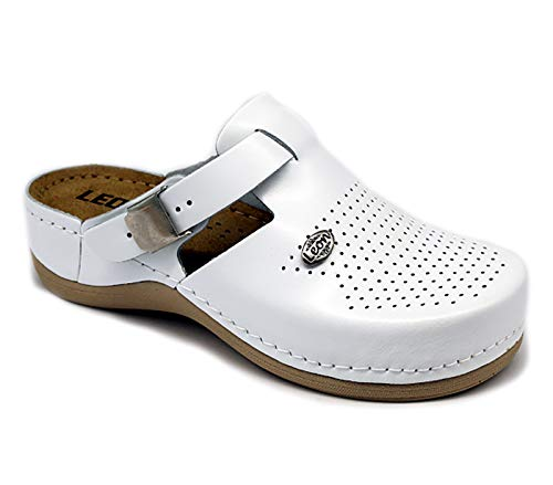 LEON 900 Zuecos Zapatos Zapatillas de Cuero para Mujer, Blanco, EU 41