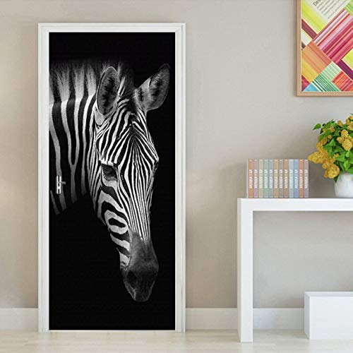 tzxdbh Retro Zwart Wit Zebra Fotobehang DIY 3D Deur Stickers PVC zelfklevende sticker voor woonkamer slaapkamer deur wooncultuur sticker 200 * 77 cm