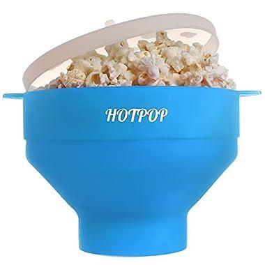 The Original HOTPOP Microwave Popcorn Popper, Silicone Popcorn Maker, Collapsible Bowl BPA Free & Dishwasher Safe (Light Blue)