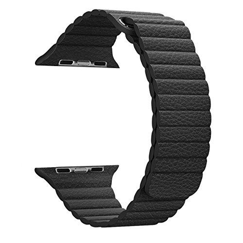 MaKer Apple Watch交換バンド マグネットロック革ブレスレット-[42mm ブラック]