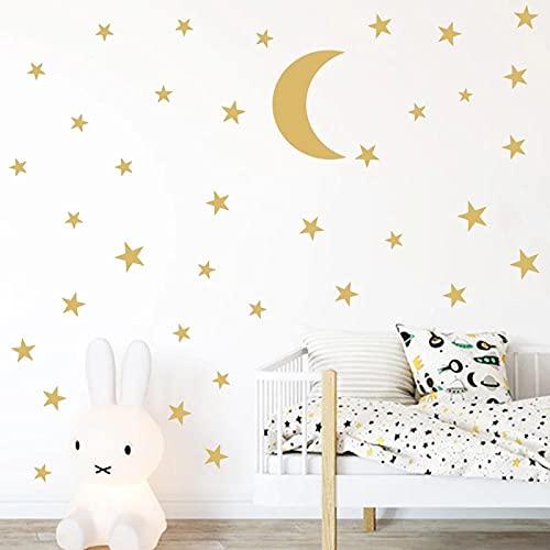 Pegatina de pared de luna dorada para habitación de niños, vinilo estrella, decoración del hogar para guardería, fondos de pantalla extraíbles