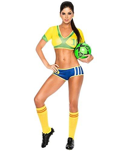 Baymate Disfraz De Animadora Fútbol Cheerleader Uniforme Dancewear Manga Corta para Mujer Brasil