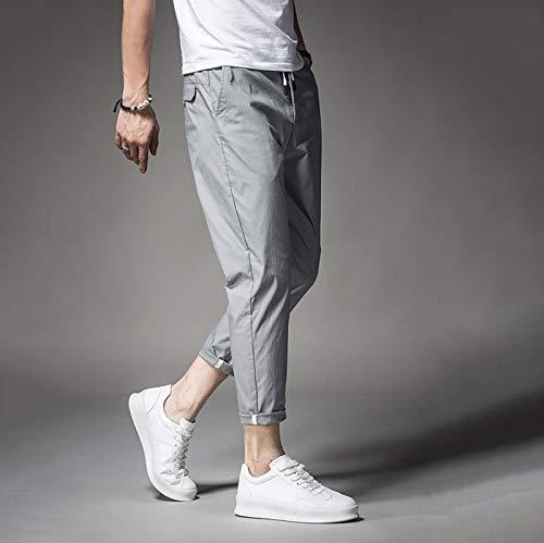 XIALIUXIA Pantalones Casual Elegantes para Hombre, Pantalón Elástico Ligero Skinny-Fit Elegante Negocios Slim Fit Regular,C,32