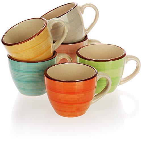 COM-FOUR 6x Tazzine da caffè - Tazze da caffè in ceramica - Tazzine da caffè per espresso, moka e cappuccino - 125 ml (06 pezzi - verde/arancio/rosa/blu/giallo/grigio)