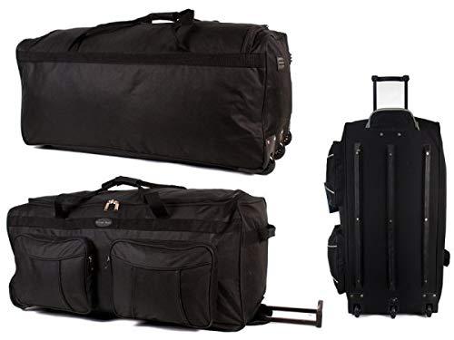 Grande borsone da 86,4 cm con 2 tasche con cerniera, tre ruote, capacità 120 l, con ruote, per palestra, sport, campeggio, grande e leggera