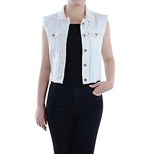 Women's Distressed Denim Button Up Sleeveless Crop Vest