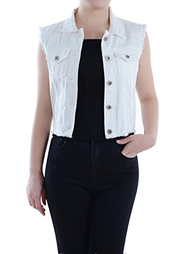Anna-Kaci Dames Blauw Denim Distressed Exfranst Button Up mouwloos jeans vest