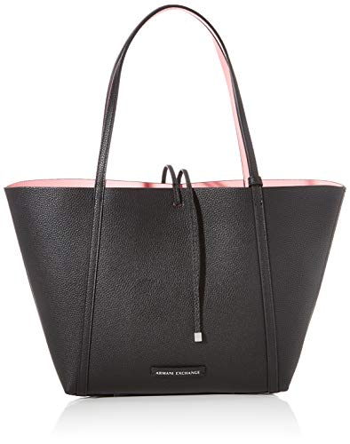 Armani Exchange - Reversible Shopping, Bolsos totes Mujer, Negro (Black/Rose Quartz), 28x11.5x31 cm (B x H T)