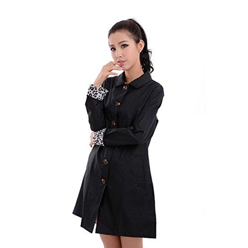 Vestes anti-pluie QFF Adult Raincoat Ms Windbreaker Long Section Tourism Waterproof Poncho (Couleur : Noir, Taille : L)
