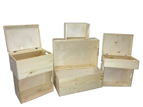 HRB Stapelboxen 8,4-57,6l Aufbewahrungsbox Lagerbox Holzkiste mit/ohne Deckel (8.4l 30x20.5x14cm ohne Deckel)
