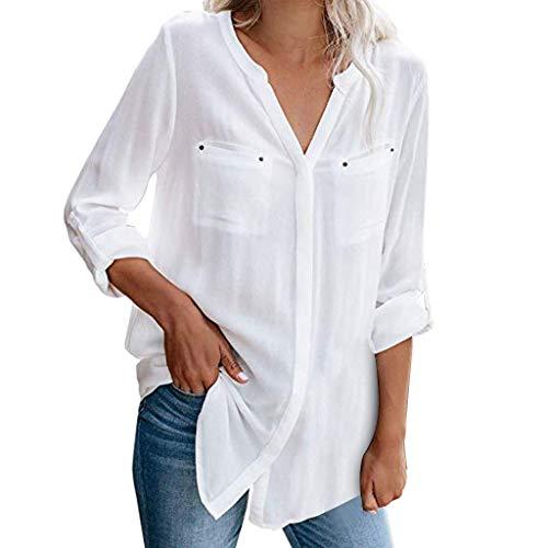 Blouses Chic Wrung Moutarde Jeux Chemisette Femme Manche Courte Tee Shirt personnalisé t Vert Top 12 Ans Noir t-Shirt Rock Chemisier Longue Tunique 20 Long Solde(Blanc,Large)