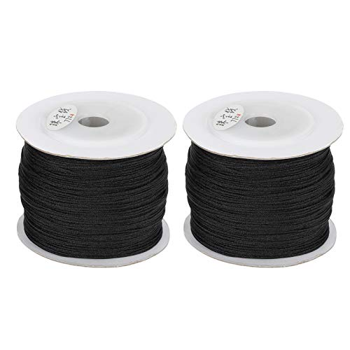 KUIDAMOS Antiwear Knotting Woven Wire Sewing Thread Polyamide Rope 2 Rolls Compact size for Necklaces for Beads