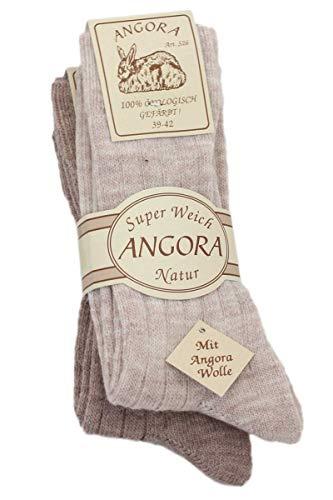 Sonia Originelli 2 Paar Angorasocken Ökologisch Wolle Warm Farbe Beige, Größe 35-38