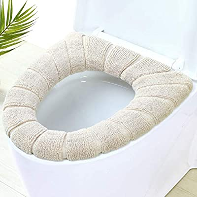 Coolder Toilet Seat Cover 2pcs-Warm Toilet Lid Seat Cover Bathroom Soft Thicker Warmer Washable Toilet Seat Cover Pads,Beige