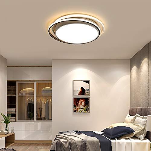 Faus Koco Sala Redonda Geométrica Creativa LED Moderna En Casa Habitación De Iluminación Continua Forjado De Hierro Oscurecimiento Lámpara De Techo (Color : White, Size : D48cm)