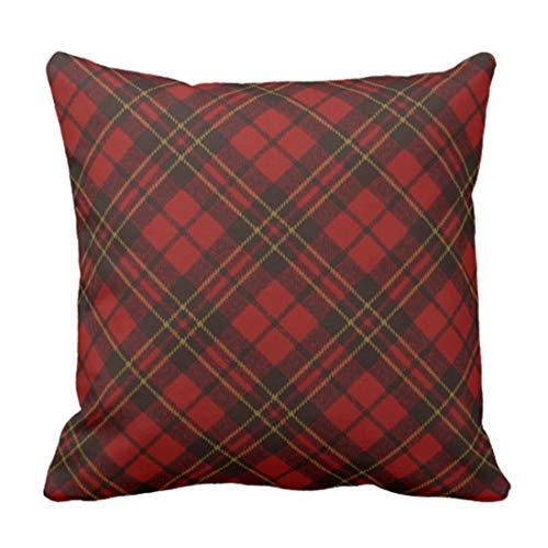 zhengchunleiX Funda de Almohada Throw Pillow Cover Festive Adorable Red Christmas Tartan Plaid Decorative Pillow Case Home Decor Square 18 x 18 Inch Pillowcase