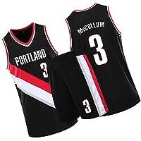 Blazers#3 McCollum personalityバスケットボールジャージ&ショートパンツスーツ、メンズベスト+ショーツセット、バスケットボールトレーニングスーツスポーツウェア black-L