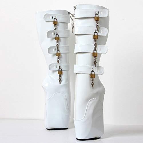 COSY-L Extreme Fetisch Ballet Stiefel Damen High Heels mit Schloss 36-46,White,46EU/15US
