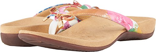 Vionic Women's Rest Bella II Toepost Sandal - Ladies Flip Flop with Concealed Orthotic Arch Support White Floral 6.5 Medium US