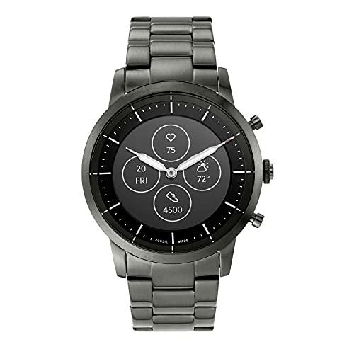 Fossil Men's 42mm Collider Stainless Steel Hybrid HR Smart Watch, Color: Smoke (Model: FTW7009)