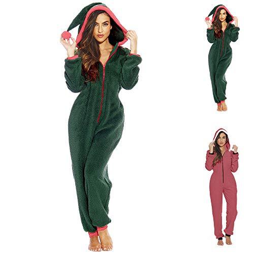 Pijama de Felpa con Capucha para Mujer, diseño de Gato Serpiente Verde Verde M