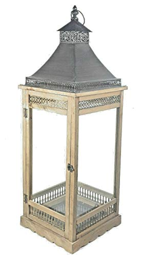 Chrischle Wunderschöne braune Holz Laterne mit Kuppeldach aus Metall 88 cm !!! 10098