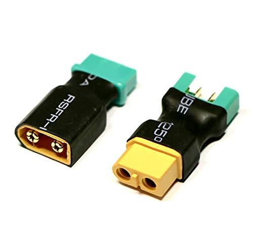 VUNIVERSUM 2X Stück Premium Adapter Set MPX 6P 6 Pin Stecker auf XT60 Buchse Male Female Goldstecker Verpolsicher für Multiplex Lipo Akku Adapterkabel von Mr.Stecker Modellbau®