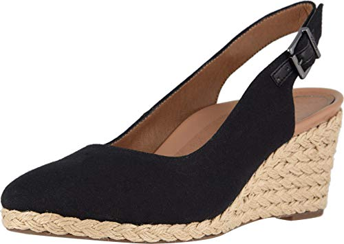 Vionic Women's Aruba Coralina Slingback Wedge - Espadrille Wedges with Concealed Orthotic Arch Support Black 8 Medium US