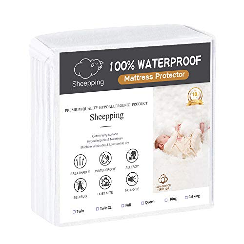 Queen Mattress Protector Fitted Sheet Bed Cover (Fits 18 Inches H) - Waterproof Cotton Terry Surface, Noiseless, Hypoallergenic. Pet & Fluids Proof. Safe Sleep for Adults & Kids (Queen, 60' W x 80')
