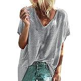 Wife MOM BOSS Frauen T-Shirt mit kurzen Ärmeln Top + Yanhoo Damen T-Shirt mit V-Ausschnitt Kurzarm Batwing Fledermaus Sommer Shirt Tunika Bluse