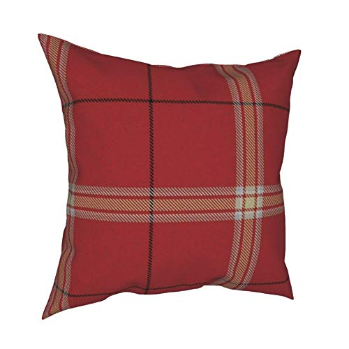 Uliykon Custom Pinkish Red Cream White Plaid (Revised) Decorative Cushion Covers Soft Square Throw Pillow Covers Pillowcases for Sofa Bedroom Car with Invisible Zipper 18 x 18 Inch