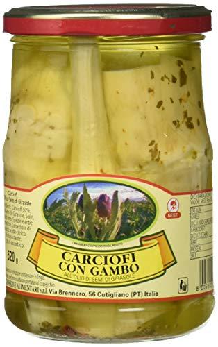 Nesti Conserve Alimentari Carciofi con Gambo all' Olio di Girasole - Pacco da 6 X 520 g