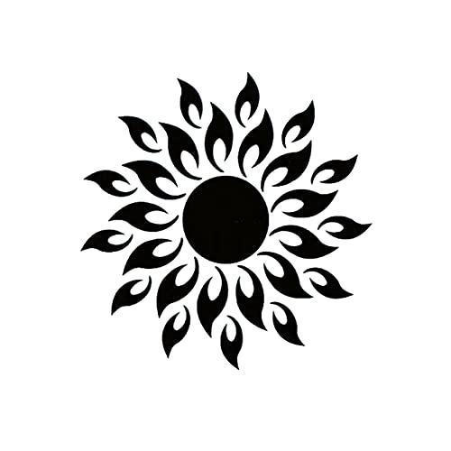 Pegatinas de Pared de Espejo de Sol de acrílico 3D Flor de Sol DIY Decoración de Pared Calcomanías de calcomanías Espejo Decorativo de baño extraíble para decoración del hogar (Color: Negro)
