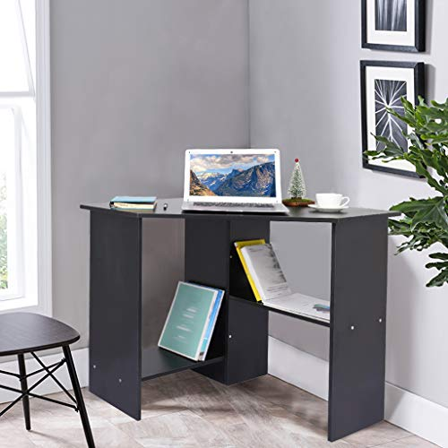 Corner Computer Desk - Home Office Desk w/2 Storage Shelf, Wood Compact Laptop PC Table Writing Study Table Workstation, Small Space,Perfect for Bedroom and Study Room (Black)