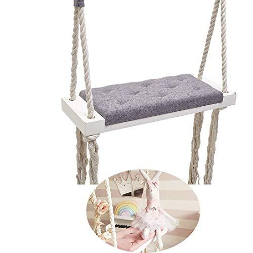 GBHJJ kinderschommel voor binnen, babyschommel voor binnen, kinderkamerdecoratie, entertainment massief houten plank spons pad katoen touw schommel roze
