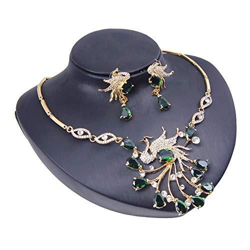 Yddxy Pendiente del Collar Pendiente del Pavo Real del Rhinestone Mujer Circonio Cúbico De Aleación De Moda Conjunto De Joyas (Pendiente + Collar),A