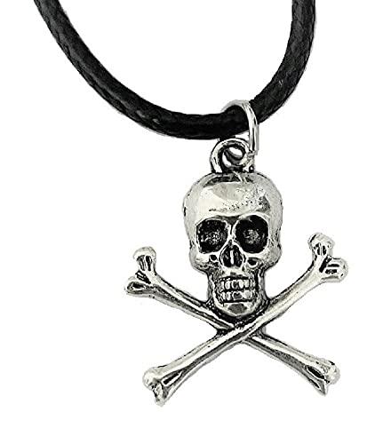 Collana con ciondolo a forma di teschio con ossa incrociate, stile pirata nero, stile tribale, gotico, idea regalo per uomo e donna unisex
