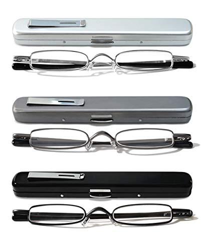 VEVESMUNDO leesbril smal metaal veerscharnier klassiek dames heren klein mini licht leeshulp kijkhulp bril met etui 1.0 1.5 2.0 2.5 3.0 3,5 4.0
