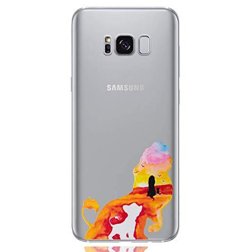 I-CHOOSE LIMITED Disney Acuarela Funda/Cubierta del Teléfono para Samsung Galaxy S7 Edge (G935) con Protector de Pantalla/Gel/TPU/El Rey León - Joven Simba