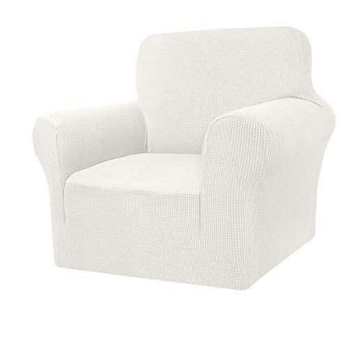 Granbest Funda de sofá de alta elasticidad, moderna funda de sofá Jacquard elástica para salón, protector para perros y mascotas (1 plaza), color crema