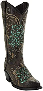 Soto Boots Turquoise Rose Country Cowgirl Boots M50032