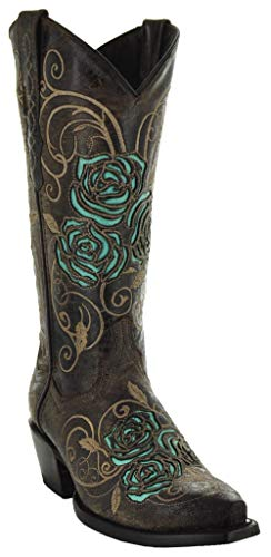 Soto Boots Turquoise Rose Country Cowgirl Boots M50032 (Brown,7)