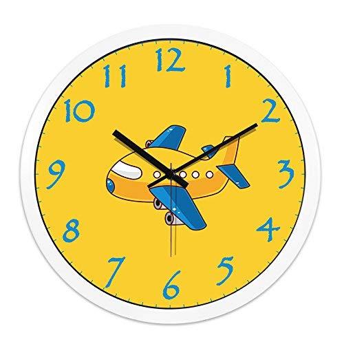 WIHY Silenzioso Seiko Orologio da Parete Batteria al Quarzo Moda Cute Cartoon Aereo Bambini Sono i Ragazzi Sono Super Silenzioso Seiko Rotondo Orologio da Parete al Quarzo, 12 Pollici, Scatola Bianco