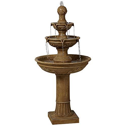 John Timberland Stafford Italian Outdoor Floor Water Fountain 48' High Three Tiered for Yard Garden Patio Deck Home