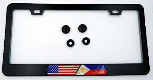 USA/Philippines Flag Metal Black Aluminium Car License Plate Frame Holder
